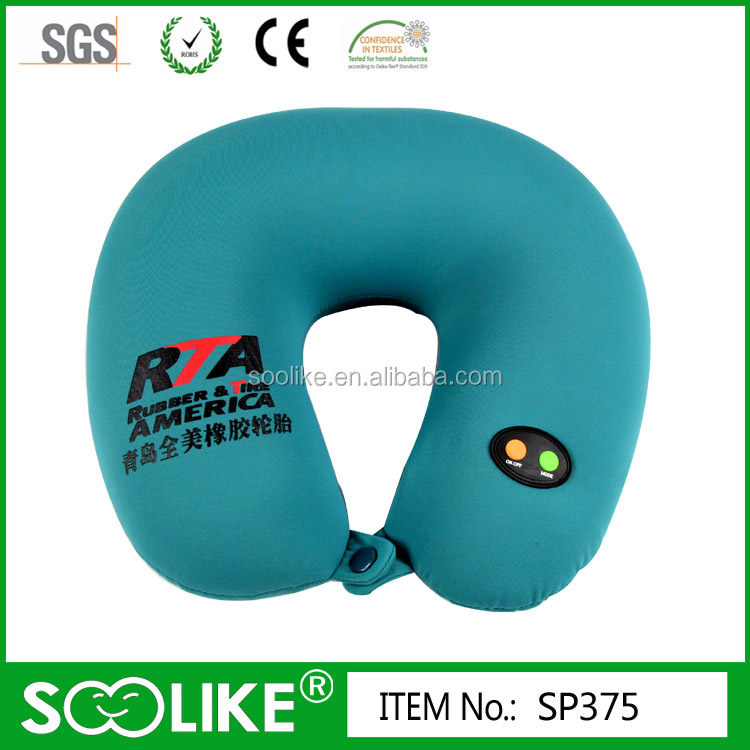 Spandex cover Micro beads filling Battery Operated Ergonomic Vibrating Massage Travel Neck Pillow