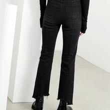 Latest designer black retro soft washed special cutting jean pants for women