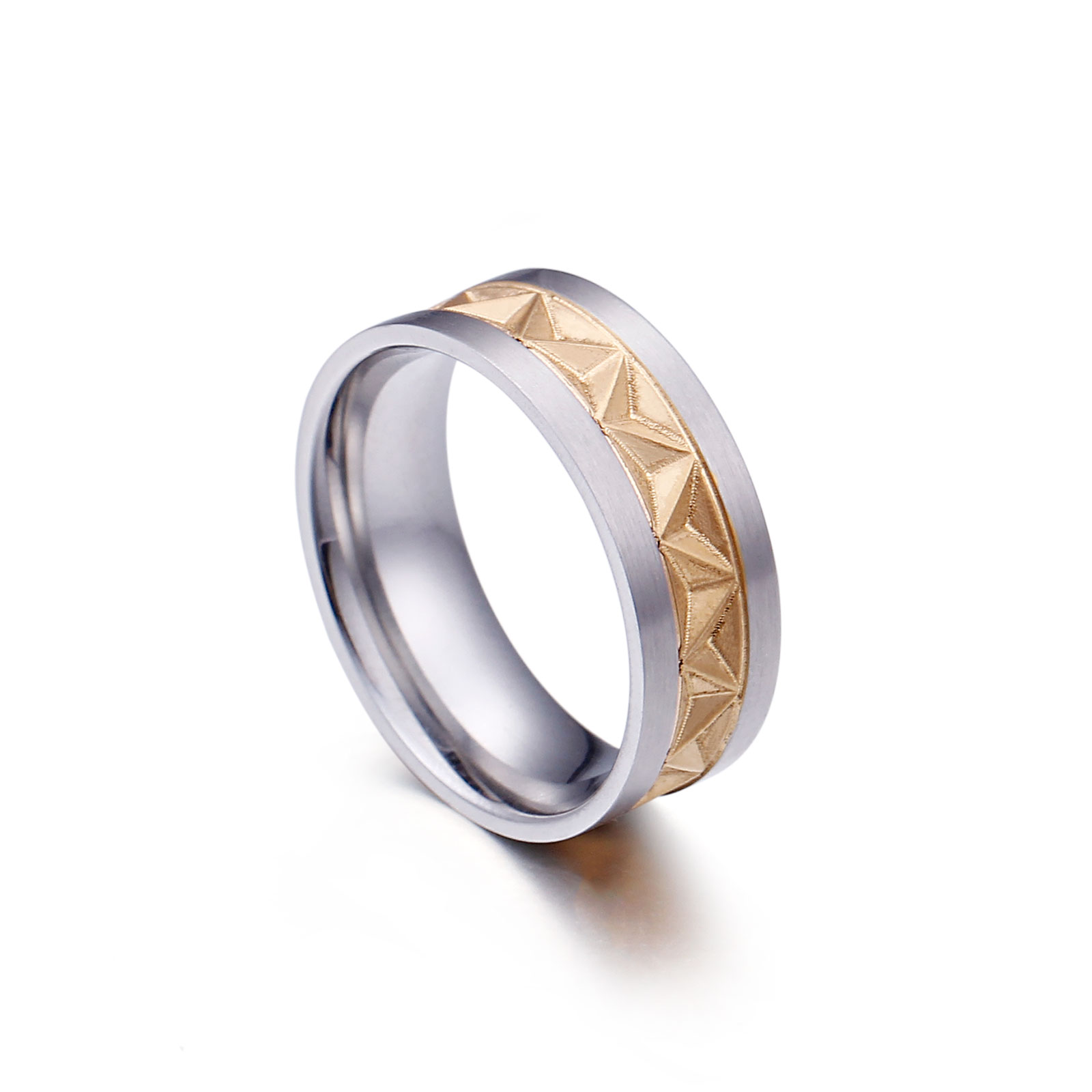 Stainless Steel Mixed Colors Engraved Pattern Rings For Men