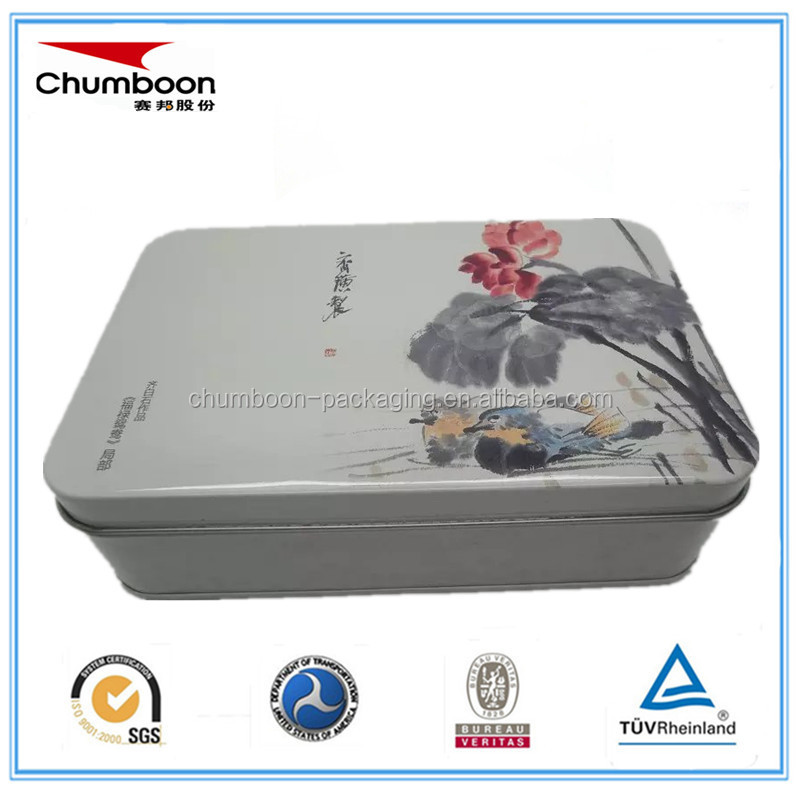 empty big direct factory OEM rectangle CMYK gift cake candy tin box set