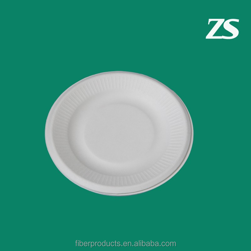 biodegradable sugarcane bagasse 6 inch paper plate with lace