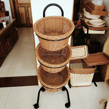Natural Rattan OR Plastic Rattan Two Materials Available Woven Basket Use For Home Hotel and Supermarket