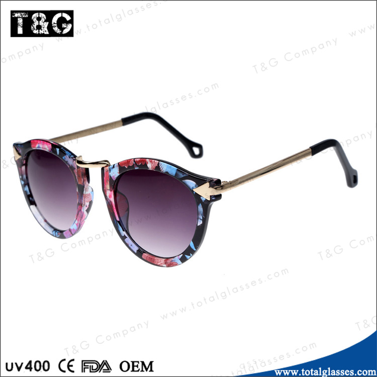Retro Round Sunglasses for women flower frame no brand eyewear custom logo China wholesale glasses