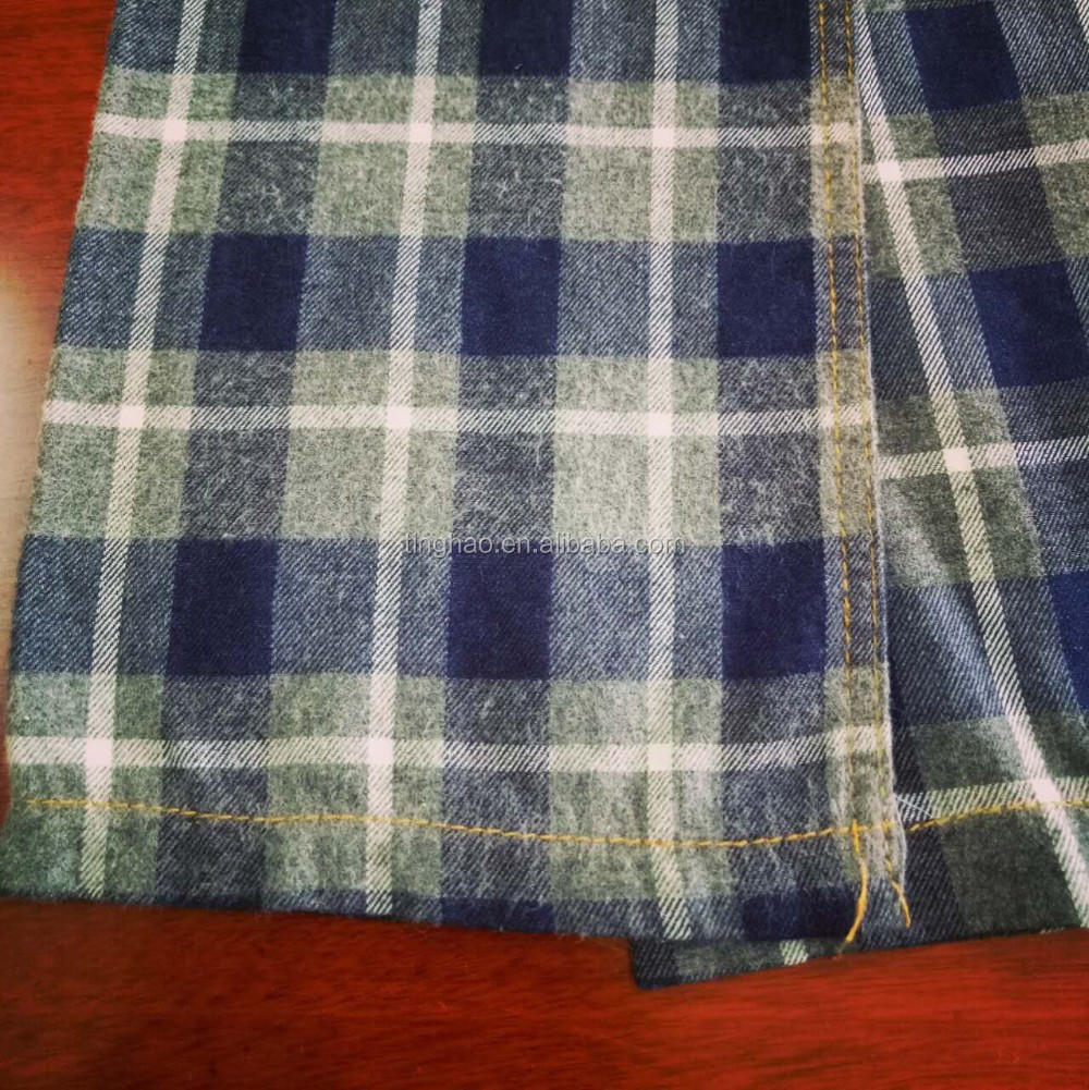 Brushed indigo cotton check denim fabric for shirts
