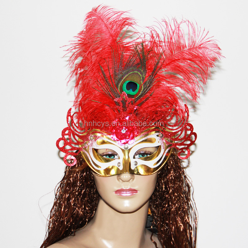Golden Lace Feather Venetian Mask Halloween Ball Masquerade Party Dress Costume