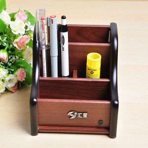 Wholesales Office Multifunction Combination Wood Stationery Organizer Desk Pen Holder