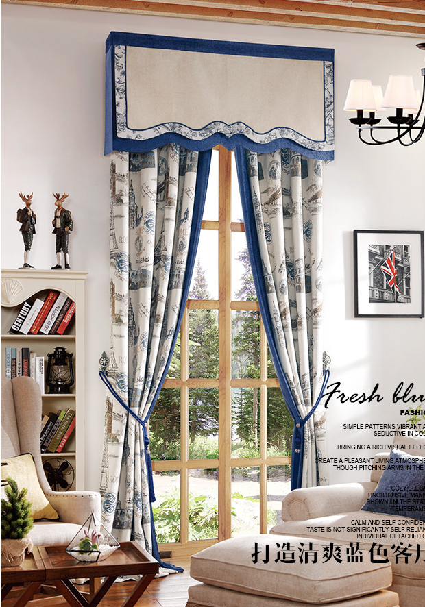 modern fashion design custom blue jacquard curtain fabric fancy luxury jacquard blackout curtain study room living room