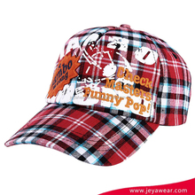 Cap manufacturer red grid custom embroidery promotional cheap 5 panel printed baseball cap