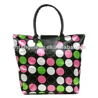 Pink Green White Polka Dot Foldable Tote Luggage Purse Travel Bag