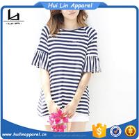 ladies casual wear raglan short sleeve striped custom t shirt