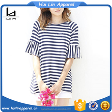 ladies casual wear raglan short sleeve striped custom t shirt