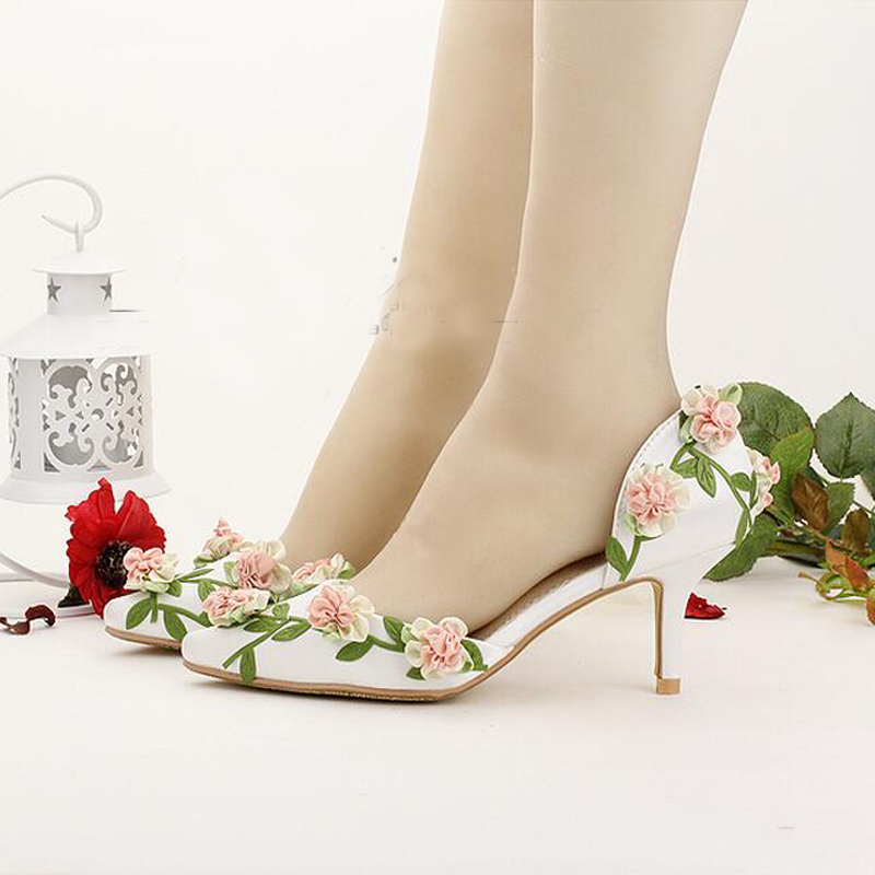 Bride Shoes White Pointed Toe Flower Wedding Shoes 7cm Comfortable Kitten Heel Spring Women