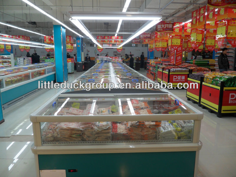 display freezer with slide glass door