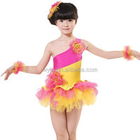 Colorful Children Latin costume, fuchsia and yellow two colors