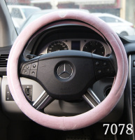 Pink velour material stuffed fur car steering wheel covers