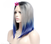 Top Quality Silky BOB Straight Wigs Gray To Blue 2T Ombre Brazilian Human Hair Full Lace Wig