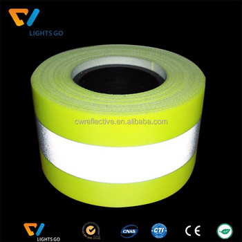 Fluorescent Flame Retardant warning yellow FR reflective tape