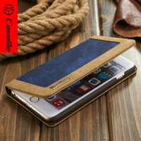 2014 Newest Cowboy Style Canvas Leather Stand Mobile Phone Case For iPhone 6