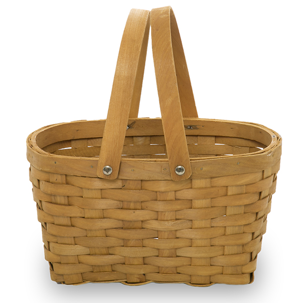 handmade oval wooden oblong swing handle wooden chip basket