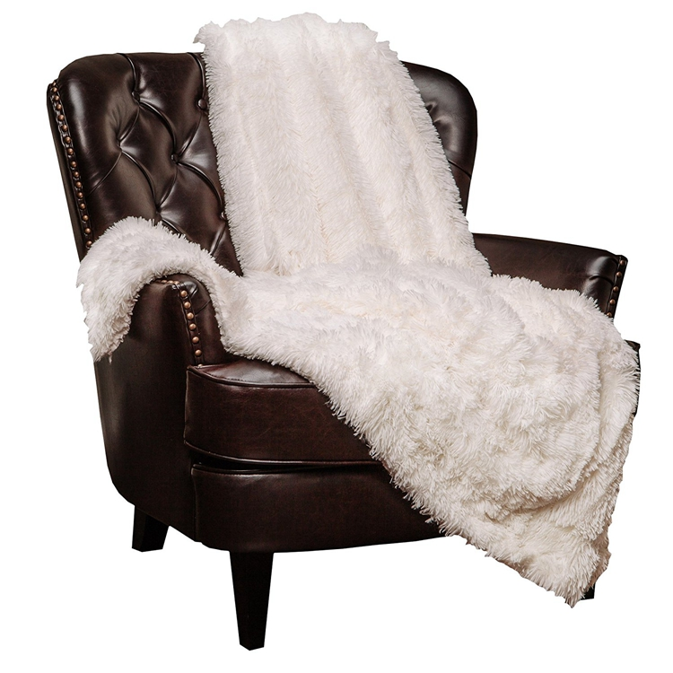 Super Soft Long Shaggy Chic Fuzzy Fur Solid throw