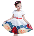 Wholesale Girls skirt 2016 summer new short-sleeved large flower girl print dresses ruffle princess skirt with belt