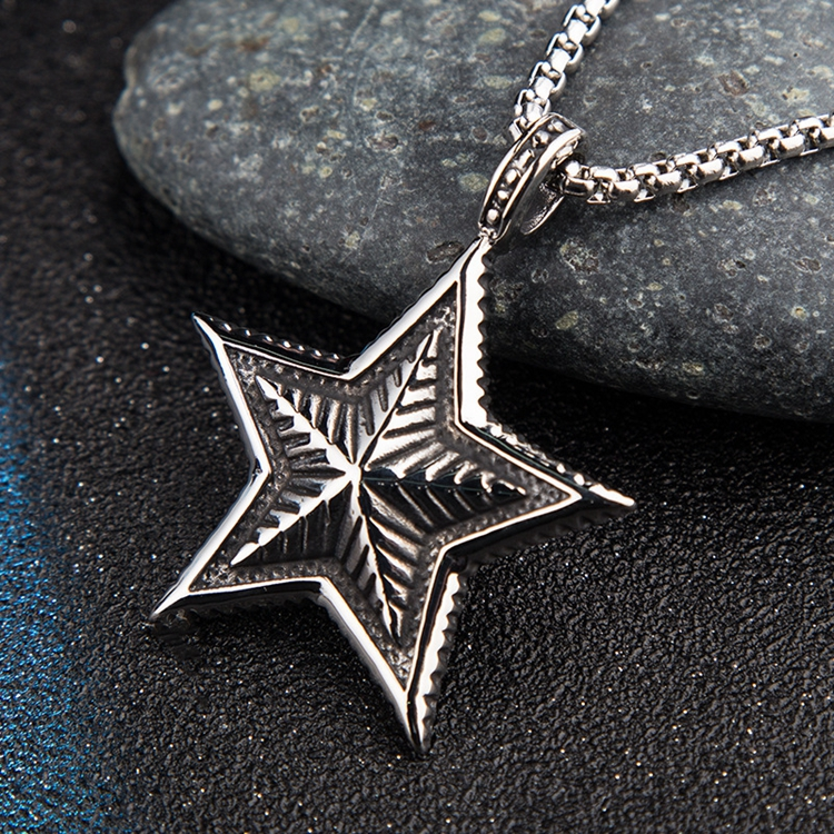 Antique Style Titanium Steel Engraved Five Pointed Star Shaped Necklace For Man