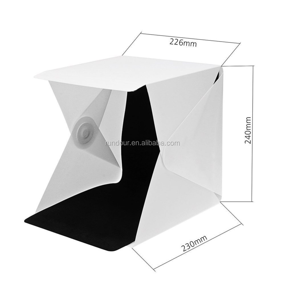 22.6*23*24cm LED Photo LightStudio Shooting Tent Box Kit include White/ Black Background, USB cable, adjustable Tripod Stan