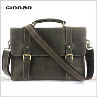 Hot Sale Real Leather Laptop Handle Stachel Men Hard Bag Tool Briefcase