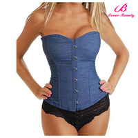 Hot sex blue photo hook eye women slimming corset with thong