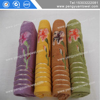 pengyuan high quality flower embroidery luxury bath towel