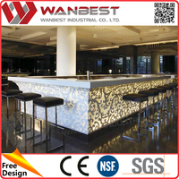 Customized artificial stone square kitchen bistro counter height pub table and chairs