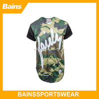 Tackle twill logo sublimated camo baseball jersey with custom design