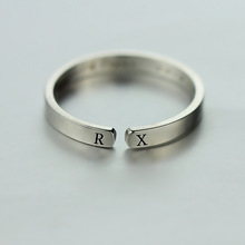 JZ055 birthday gift wholesale costom jewelry S letter with 925 sterling silver ring letter P M H ring for yiwu jewelry 2.5*1.5mm