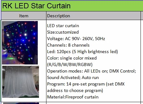 Led star curtain wall hall light backdrop white blue curtain for wedding event