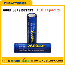 3.7v 2600mah rechargeable lithium-ion battery,18650 battery zhongxi battery for E-cig