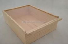 Unfinished cheap acrylic lid wooden candy box/wooden shoe box /wooden t-shirt storage box