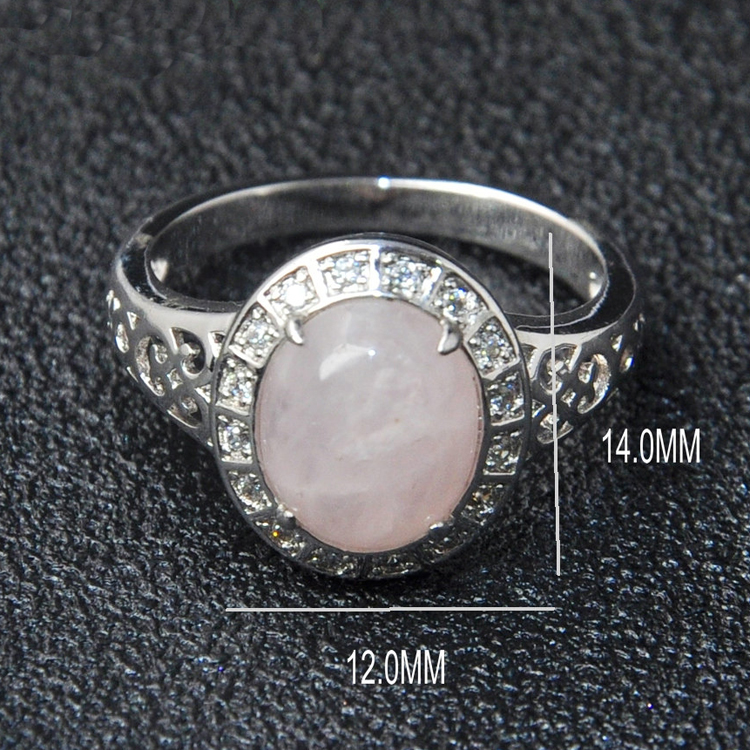 925 Sterling Silver Gemstone Jewelry Natural Rose Quartz Ring For Ladies