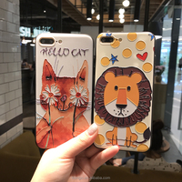 Cute Cartoon Case for Apple iPhone 7 7S Plus 6 6S Plus Strong 3D Relief Anti-Scratch Phone Case Cover for iPhone 8 Plus