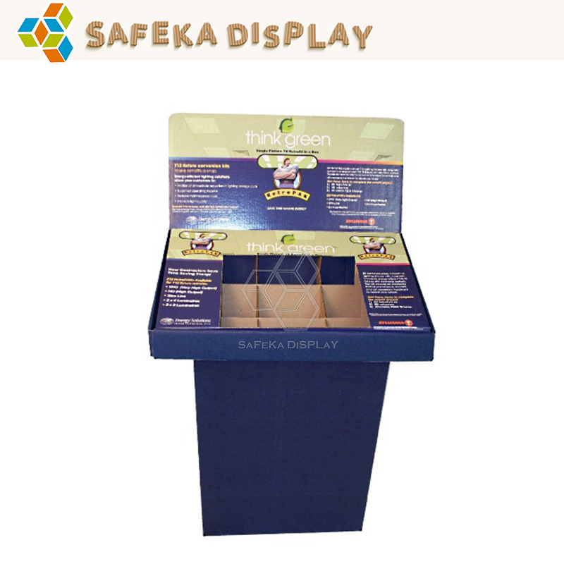 Paper material Light Duty Style Single-sided OEM Printed Cardboard Supermarket Promotion PDQ Tray pop up display table stand