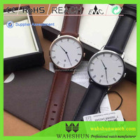 Custom Brand 2 hands Japan Movement Alloy Case D W Leather Band Slim Watch