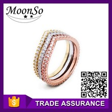 925 Sterling Silver 18K Rose Gold Plated Wedding Engagement Band Ring Set for women three colors KR719 MoonSo