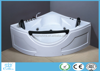 Crown HG-8809 white color modern tempered glass and ABS corner round shape massage whirlpool spa portable bathtubs