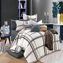 Westerrn Concise Plaid Style Bedsheets Bedding Set For China Home Textile Supplier