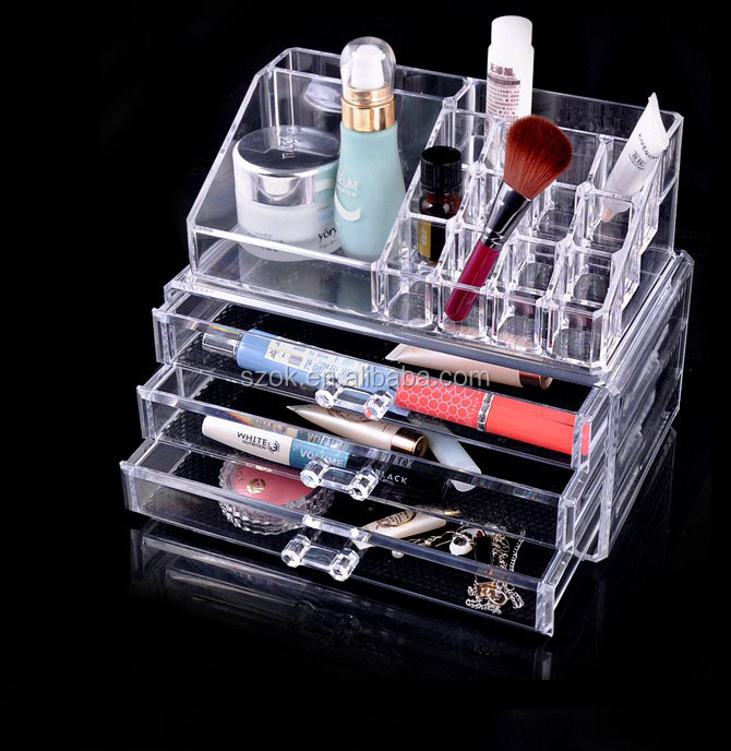 Clear high quality acrylic makeup case display stand for sale