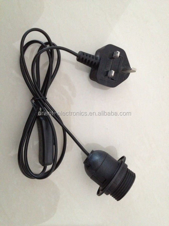 electrical cord for salt lamps himalayan/Uk type lamp cord BS approved