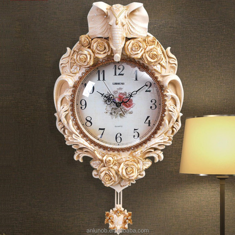 Elephant themes large animal head hanging wall mounted clock