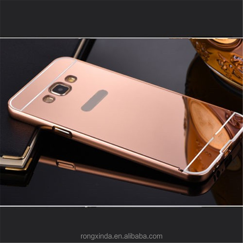 Cover case in alibaba most papular metal mirror back bumper phone case cover for samsung galaxy j7 j5 a7 a8 mirror case
