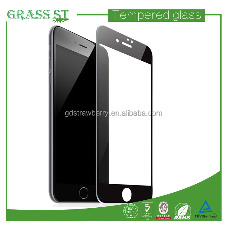 Hot selling silicone edge HD clear tempered glass screen protector for iphone 7