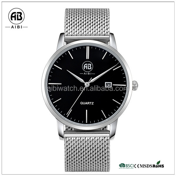 Black dial mesh band best selling men's watch on 2015 with date