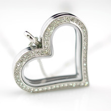 Silver Plating Jewelry Zinc Alloy Heart Shape Clear Glass Floating Living Memory Locket